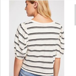 Free People Tops - Free People Molly Striped Puff Sleeve Cropped Tee